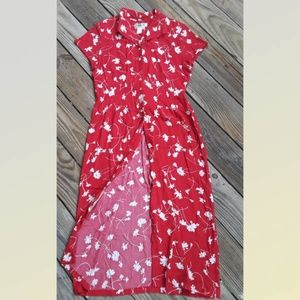 Coldwater Creek Bottom Down Red Maxi Dress 10